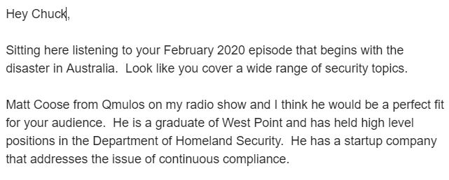 sample email to get invitations to be a guest on a podcast