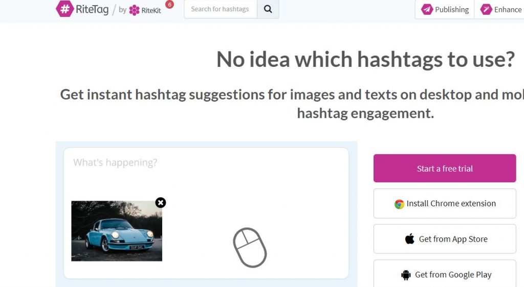 hashtag selector for Twitter